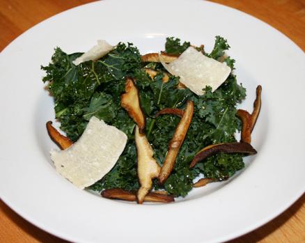Tuscan Kale Salad, Shitake Mushrooms and Parmesan Slices